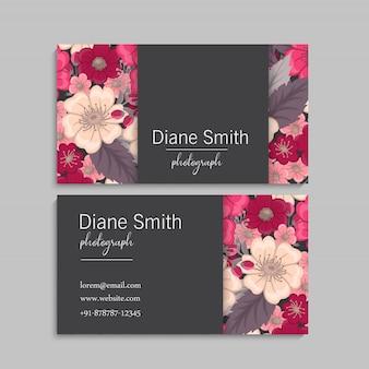 Flor tarjetas de visita flores rosas fuertes