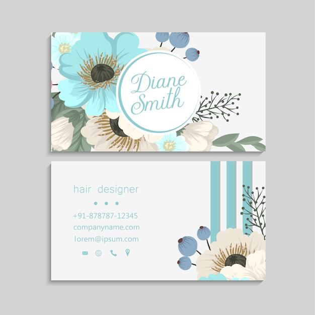 Flor tarjetas de visita verde menta