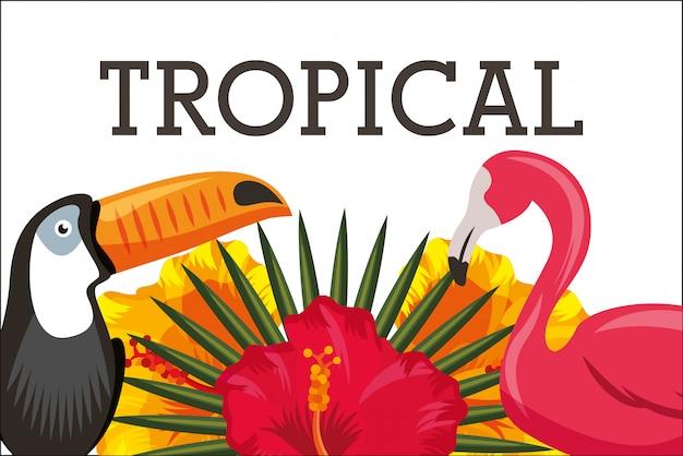Flor tropical deja tarjeta animal