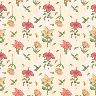 Flor tropical de patrones sin fisuras dibujados a mano