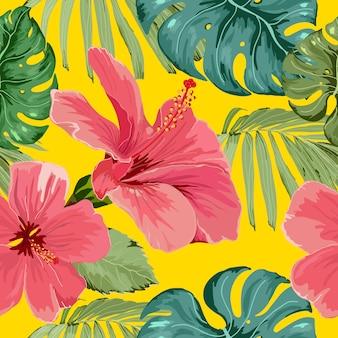 Flor tropical de patrones sin fisuras con hojas