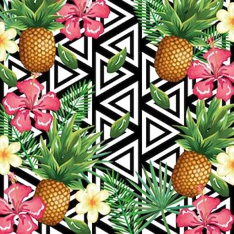 Flor tropical y piña con fondo abstracto