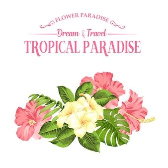 Flor tropical sobre fondo blanco. ilustración vectorial