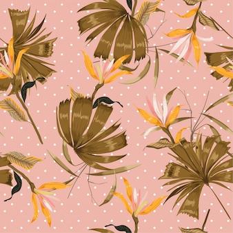 Flor tropical de verano y hojas en patrón de lunares