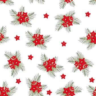 Flor de vid de ciprés sobre fondo blanco de navidad
