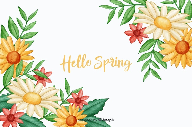 Flora amarilla con hola cita de primavera