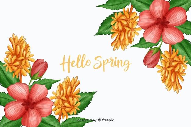 Flora rosa con hola cita de primavera