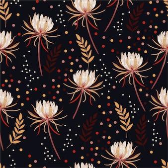 Floración de flores de cactus botánico con lunares colorflu y hojas de patrones sin fisuras