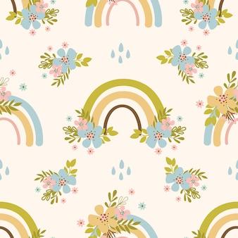 Floral arco iris dibujado a mano flor vacaciones dibujos animados de patrones sin fisuras