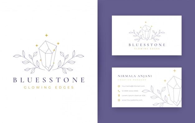 Floral con diseño de logotipo minimalista de joyería con tarjeta de visita