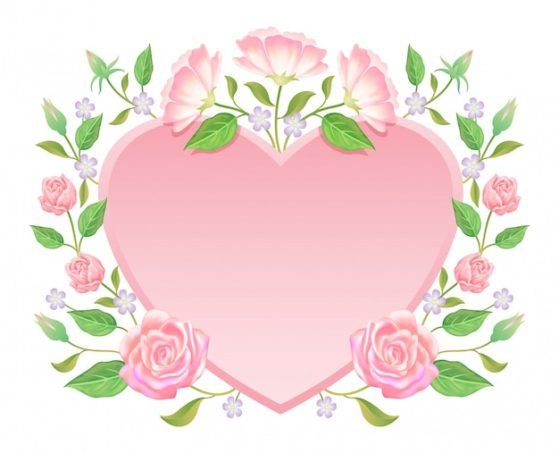 Floral. flor rosa y hojas con decoración de etiqueta en blanco