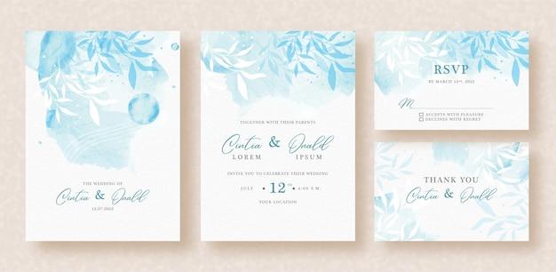Floral de fondo azul en invitación de boda