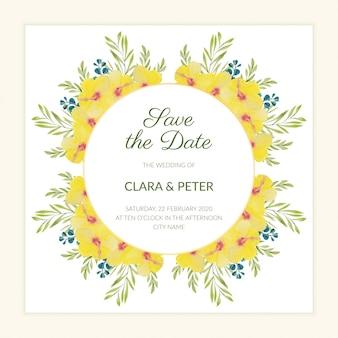 Floral guardar la plantilla de fecha con acuarela hibisco amarillo