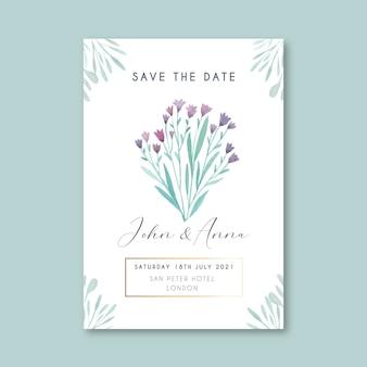 Floral guardar la plantilla de tarjeta de fecha
