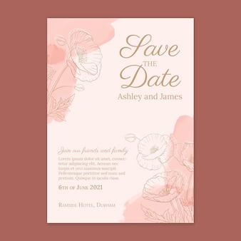 Floral guardar la tarjeta de fecha