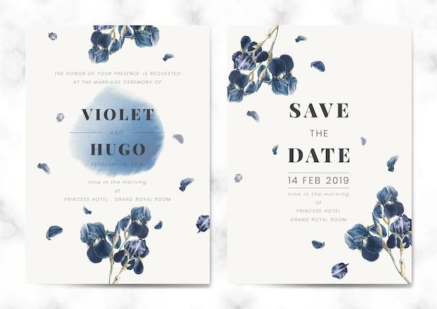 Floral guardar el vector de conjunto de tarjeta de fecha