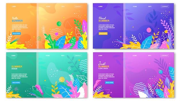 Floral hello summer landing page set