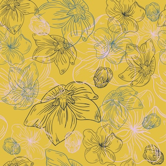 Floral línea flor patrón tela arte de dibujo