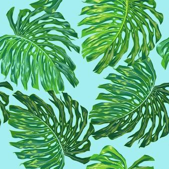 Floral tropical seamless pattern hojas de palma
