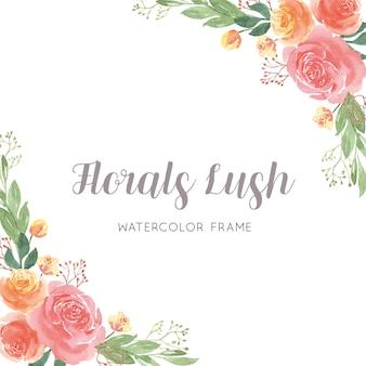 Florales de acuarela pintados a mano con borde de marco de texto