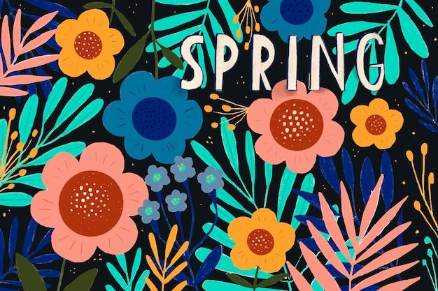 Florales y hojas la primavera se acerca temporada