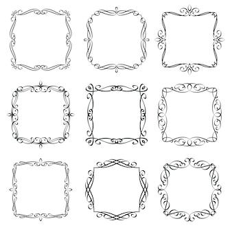 Florece el conjunto de marcos vintage. elementos de diseño caligráfico, borde adornado, invitación de tarjeta de plantilla de página de tipografía decorativa. etiquetas retro monograma.