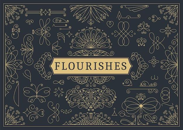 Florece el fondo ornamental caligráfico de la vendimia. página adornada de oro con elementos de remolinos y viñetas