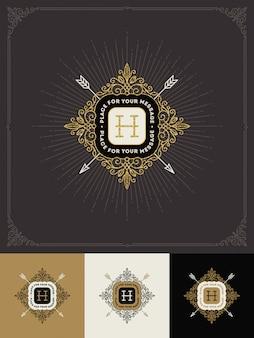 - florece el logotipo del monograma dorado brillante.