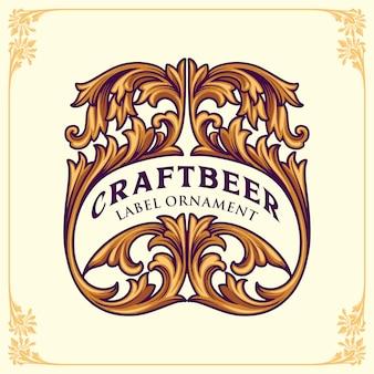 Florece la plantilla de diseño de etiquetas de cerveza