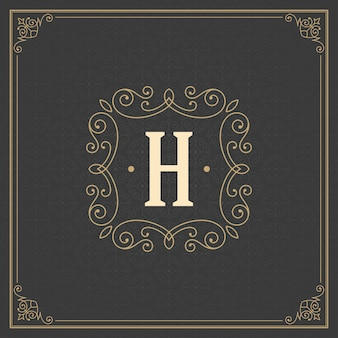 Florece plantilla de emblema de monograma caligráfico marco elegante de lujo