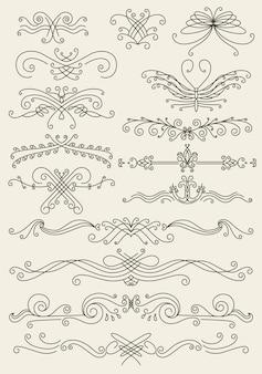 Florecer conjunto de elementos de diseño caligráfico. símbolos de decoración de página para embellecer su diseño