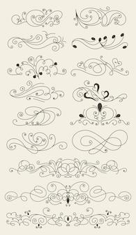 Florecer conjunto de elementos de diseño caligráfico.