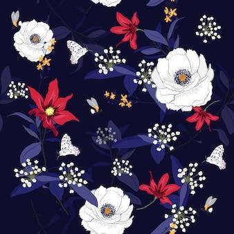 Florecer flores botánico floral vector de patrones sin fisuras