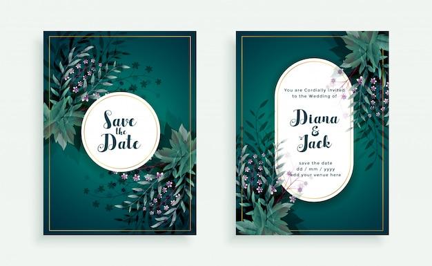 Florecer guardar la plantilla de tarjeta de invitación de boda de fecha