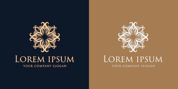 Florecer la plantilla de diseño de logotipo vintage de lujo dorado