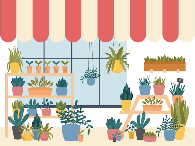Florería interior con plantas de interior en macetas.