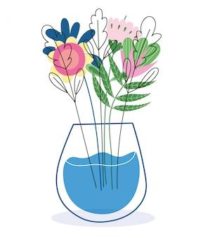 Florero de flores follaje naturaleza hierbas botánica