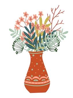Florero de flores, hojas y ramas.