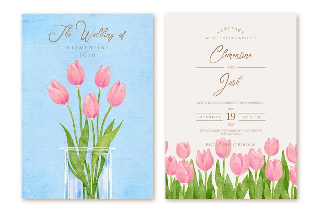 Florero de flores de tulipán rosa dibujado a mano set plantilla de invitación de boda