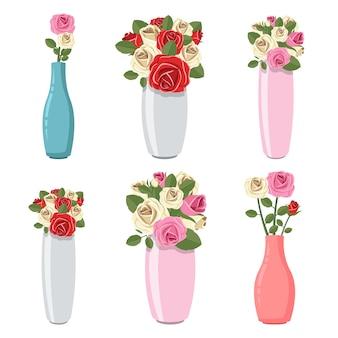 Florero con ilustración de flores aislado en blanco