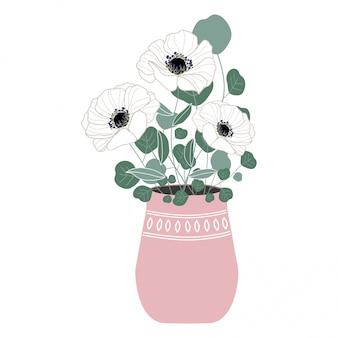 Florero ramo de flores ilustración