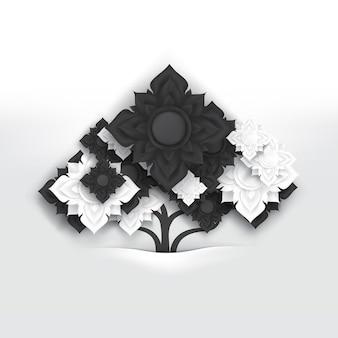 Flores abstractas del arte tailandés blanco y negro