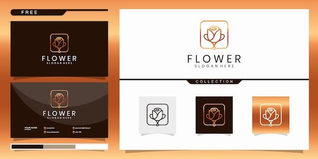 Flores abstractas elegantes que inspiran belleza, yoga y spa. diseño de logotipo y tarjeta de visita