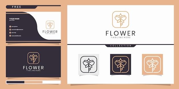 Flores abstractas elegantes que inspiran belleza, yoga y spa. logo y tarjeta de visita