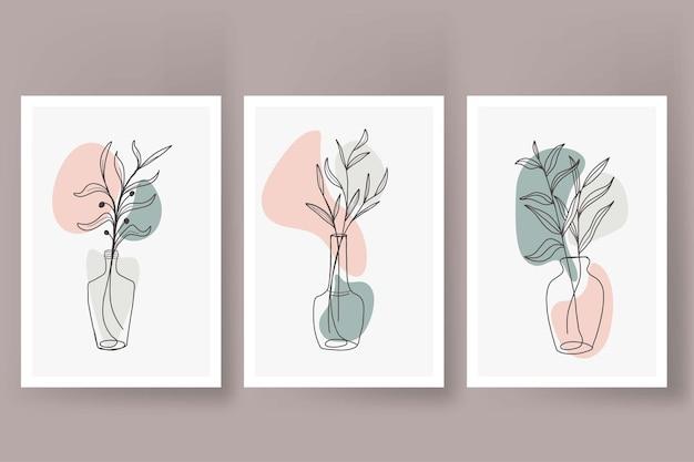 Flores abstractas en estilo vintage de cartel de arte de línea de florero