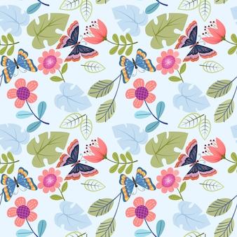 Flores abstractas y patrones sin fisuras de mariposa