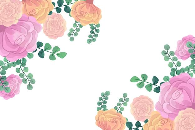 Flores de acuarela para el concepto de fondo en colores pastel