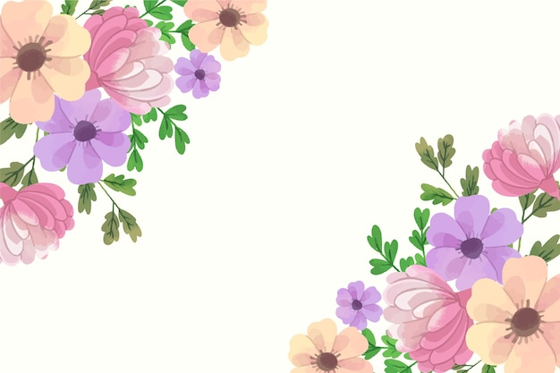 Flores de acuarela para diseño de papel tapiz en colores pastel