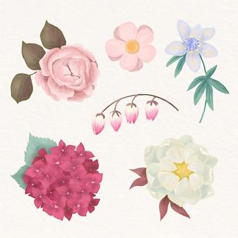Flores de acuarela pintadas a mano