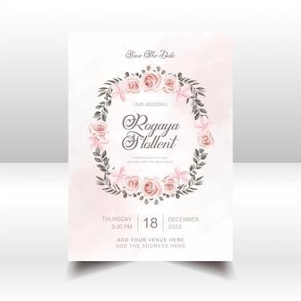 Flores de acuarela vintage boda plantilla de tarjeta de invitación